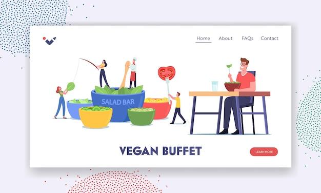 Małe postacie odwiedź szablon strony docelowej baru sałatkowego. ludzie jedzący warzywa w wegańskim bufecie. zdrowa żywność, odżywianie warzyw, restauracja wegetariańska z naturalną żywnością. ilustracja kreskówka wektor