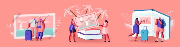 Małe postacie patrzące na podróżne zdjęcia w ogromnym albumie fotograficznym, tropikalny kurort na plaży, europejskie zabytki, letnie wakacje, wspomnienia z podróży, podróż