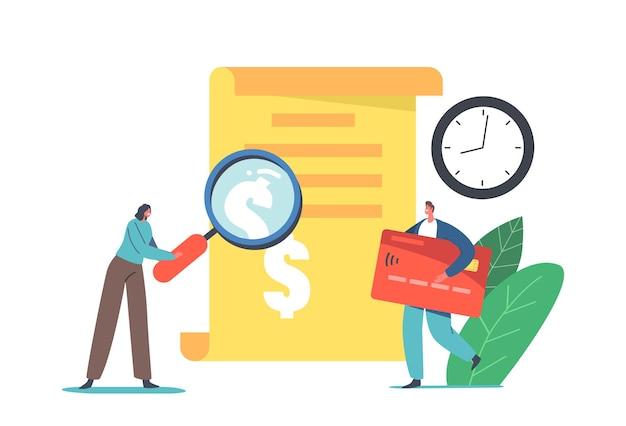 Małe postacie w ogromnym przepisie na płatności w historii transakcji. kupującego mężczyzna posiadający kartę kredytową do płatności online, kobieta z szybą. płatności bezgotówkowe, zakupy w sklepie. ilustracja wektorowa kreskówka ludzie