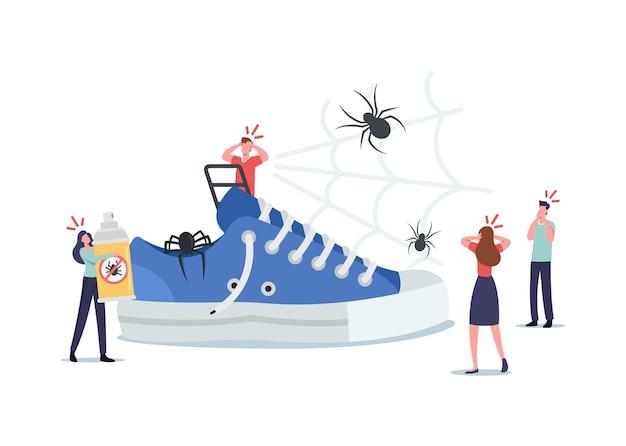 Małe postacie wokół wielkiego tenisówki, przerażeni ludzie boją się pająków, cierpiący na arachnofobię problem psychologiczny. ludzie przerażający owadów krzyczą w panice i szoku. ilustracja kreskówka wektor
