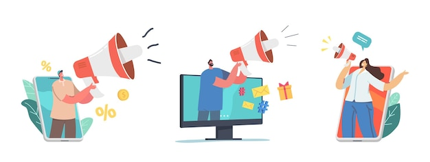 Małe postacie z ogromnym megafonem. marketing cyfrowy, public relations i sprawy, komunikacja. praca agencji pr, reklama alertowa, promocja w mediach społecznościowych. ilustracja wektorowa kreskówka ludzie