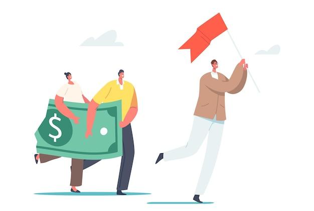 Małe postacie z wielkim dolarem rozpadają się i zmniejszają wartość podążają za liderem z czerwoną flagą. inwestycje w kryzys finansowy, deflację, zyski i straty w biznesie. ilustracja wektorowa kreskówka ludzie