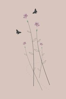 Małe różowe dzikie kwiaty minimalistyczny design