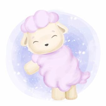 Małe różowe owce słodkie zwierzę