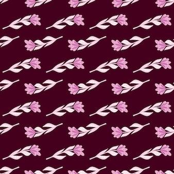 Małe różowe proste kwiaty kształtują bezszwowe doodle wzór