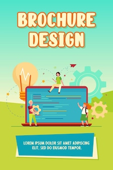 Małe słodkie dzieci uczą się kodowania. laptop, żarówka, ilustracja wektorowa płaski program