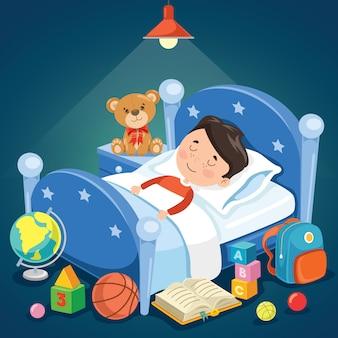 Małe słodkie dziecko śpi w łóżku