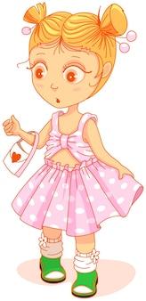 Małe słodkie dziewczyny w pięknej sukni patrząc zaskoczony. ilustracja kreskówka wektor na białym tle