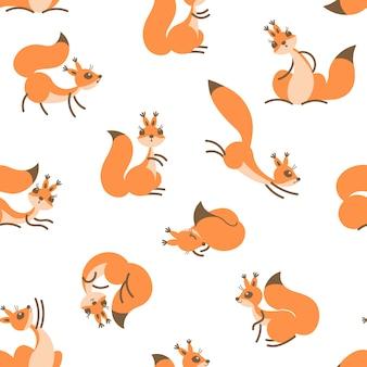 Małe słodkie wiewiórki. wzór do pakowania prezentów, tapet, pokoju dziecięcego lub odzieży.