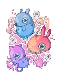 Małe słodkie zwierzęta. ilustracja kreatywnych kreskówek.