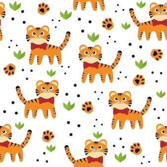 Małe tygrysy wzór, kolor wektor ilustracja na białym tle w stylu cartoon.