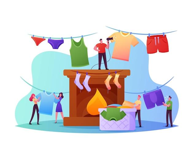 Małe znaki suszenie koncepcji mokrej odzieży. ludzie wiszący ogromne czyste mokre ubrania na liny i kominkiem biorąc praną pościel z koszyka. obowiązki i obowiązki domowe. ilustracja kreskówka wektor