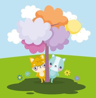 Małe zwierzęta z drzewem