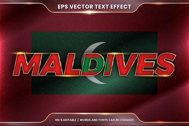 Malediwy z flagą narodową kraju, edytowalny styl efektu tekstu z koncepcją gradientu koloru złota