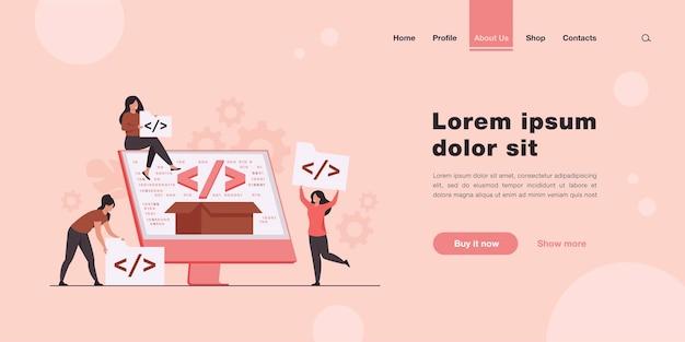 Maleńcy programiści programujący stronę docelową na platformę internetową w płaskim stylu