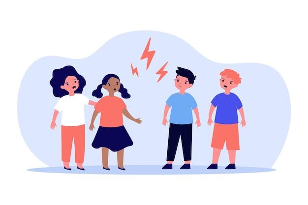 Mali chłopcy i dziewczynki kłócą się gniewnie ilustracja