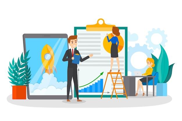 Mali ludzie biznesu pracujący razem. strategię i zdobądź osiągnięcia. kobieta pokazuje prezentację lub biznesplan. proces roboczy. pojedyncze mieszkanie