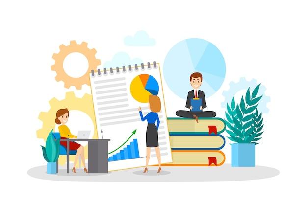 Mali ludzie biznesu pracujący razem. wymyśl strategię i zdobądź osiągnięcia. kobieta pokazuje prezentację lub biznesplan. proces roboczy. ilustracja na białym tle płaski wektor