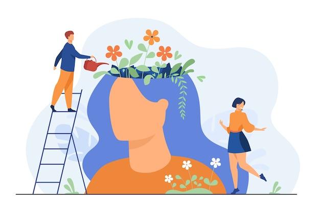 Mali ludzie i piękny ogród kwiatowy wewnątrz głowy kobiety na białym tle płaska ilustracja.