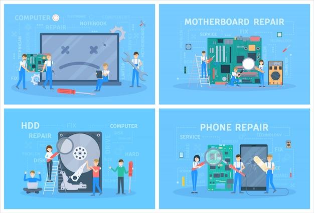 Mali ludzie naprawiają zestaw urządzeń cyfrowych.