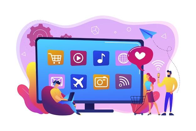 Mali ludzie z laptopem i koszykiem korzystający z telewizora smart tv z aplikacjami. aplikacje smart tv, marketplace smart tv, koncepcja rozwoju aplikacji telewizyjnych. jasny żywy fiolet na białym tle ilustracja