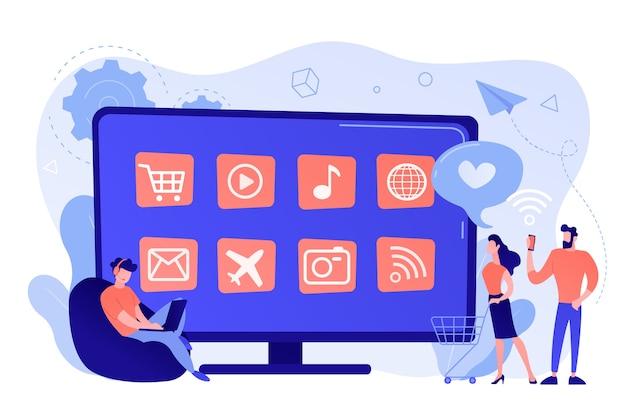 Mali ludzie z laptopem i koszykiem korzystający z telewizora smart tv z aplikacjami. aplikacje smart tv, marketplace smart tv, koncepcja rozwoju aplikacji telewizyjnych