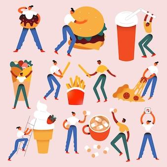 Mali ludzie z ogromnym jedzeniem, postacie z jedzeniem ulicznym