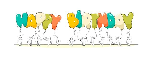 Mali ludzie ze słowami happy birthday.
