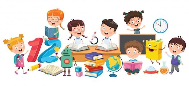 Mali studenci studiujący i czytający książki