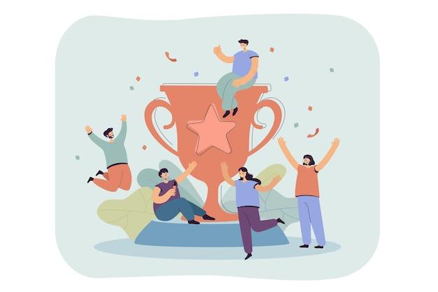 Mali szczęśliwi zwycięzcy w pobliżu płaskiej ilustracji duży złoty puchar