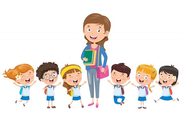 Mali uczniowie z nauczycielem