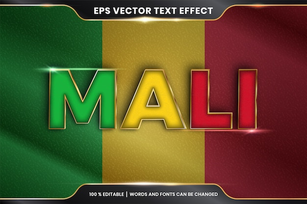Mali z flagą narodową kraju, edytowalny efekt tekstowy ze złotym kolorem