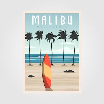 Malibu california beach vintage, plakat podróżny surfingu