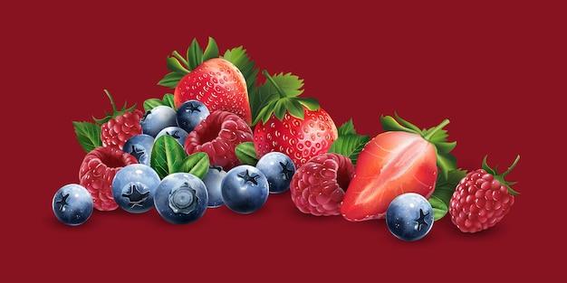 Maliny, jagody i truskawki