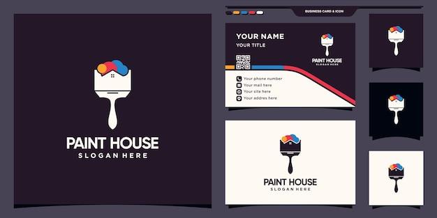 Malować logo domu z kreatywną koncepcją i projektem wizytówek premium wektor