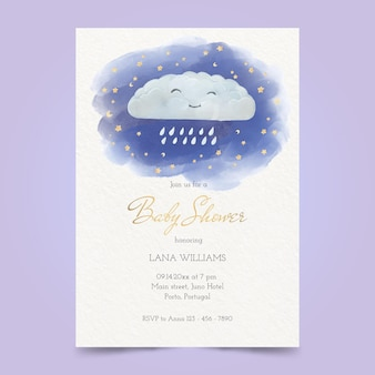 Malowana karta baby shower z motywem chuva de amor