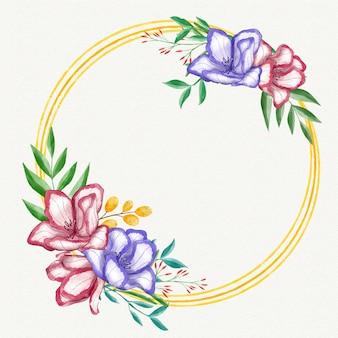 Malowana piękna kwiecista ramka