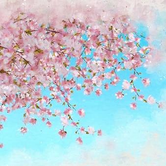 Malowane abstrakcyjny obraz wiśniowy kwiat niebieskim tle