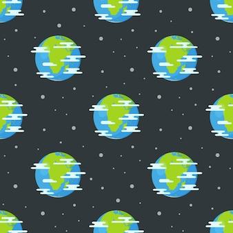 Malowane elementy bez szwu wzorów. tło przestrzenne. ilustracja rysunku przestrzeni. ilustracja wzór planety ziemi. wzór z planet kreskówka.