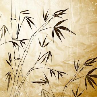 Malowanie bambusa na starym papierze.