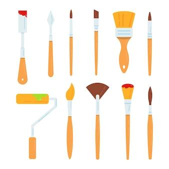 Malowanie ilustracji narzędzi. zestaw ilustracji pędzli olejowych.