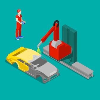 Malowanie karoserii w fabryce samochodów. transport izometryczny.