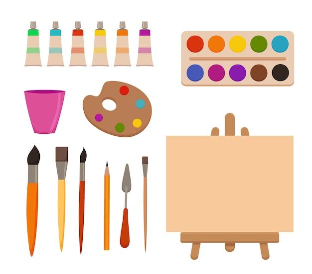 Malowanie narzędzi elementów kreskówka kolorowy zestaw. materiały plastyczne: sztaluga z płótnem, tuby malarskie, pędzle, ołówek, akwarela, paleta. rysowanie kreatywnych materiałów do projektów warsztatów