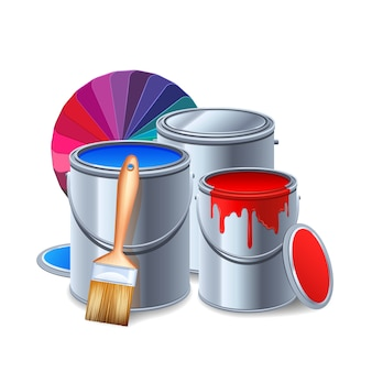 Malowanie narzędzi i sprzętu realistyczna kompozycja z puszkami po farbie