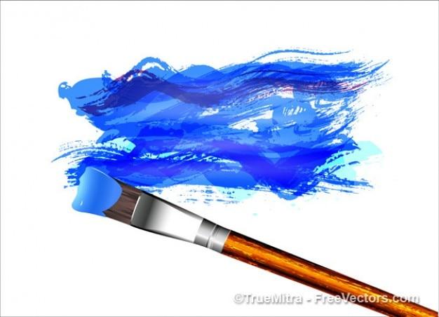 Malowanie pędzlem tuszem akwarela artystyczny streszczenie niebieski pociągnięć