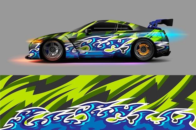 Malowanie samochodu graficzny wektor z abstrakcyjnym wzorem wyścigowym