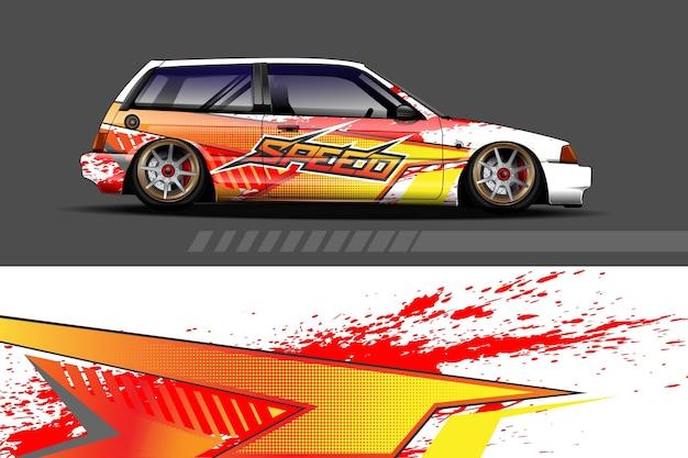 Malowanie samochodu grafika z abstrakcyjnym wzorem wyścigowym