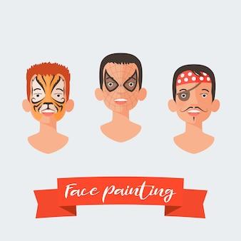 Malowanie twarzy dzieci zestaw ilustracji wektorowych. twarze z różnymi bohaterami namalowanymi na imprezę dla dzieci. tygrys, pająk, piracki makijaż
