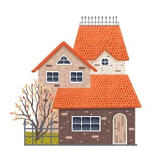 Malowany dom jesienią wielopoziomowy z drzewem i płotem