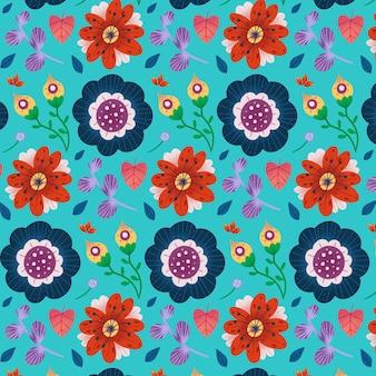 Malowany egzotyczny wzór kwiatowy